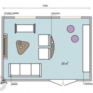 Вітальня 20 кв. м : чотири варіанти планування