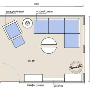 Вітальня 16 кв. м. – чотири варіанти планувань