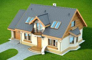 Одноповерховий будинок з мансардою та гаражем